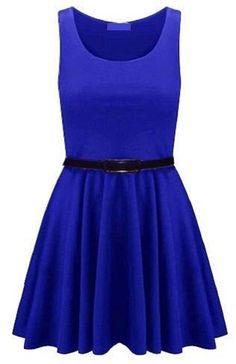 Fashion 4 Life! Women's Plain Skater Dress, M/L(12/14), Blue