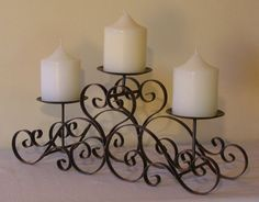 wrought iron candle holders Candle Lanterns, Candle Sconces, Wrought Iron Candle Holders, Candlestick Holders, Wrought Iron Decor, Candle In The Wind, Home Garden Design, Iron Furniture, Tuscan Decorating