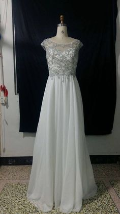 Beautiful White prom dress Custom made beaded front with by Bijouxjewels