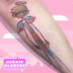 By Noemie Alazard @ Paris & Lille Watercolor Tattoo, Geek Stuff, Kawaii, Angel, Paris, Tattoos, Tattoo Art, Geek Things, Montmartre Paris