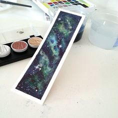 Watercolor galaxy/nebula bookmark. Fancy metallic and shimmer watercolors are Finetec Coliro, Germany.