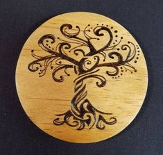 Handmade Tree of Life Wood Burned Coasters,Handmade wooden coasters with a beautiful Tree of Life design burned into them. Set of What's wood . Wood Burning Stencils, Wood Burning Tool, Wood Burning Crafts, Wood Burning Patterns, Wood Crafts, Wood Burning Projects, Pyrography Patterns, Pyrography Ideas, Pyrography Designs