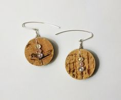 Handmade Michigan Recycled Cork Dangle Earrings In Sterling Silver by JujusNature on Etsy
