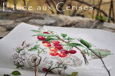 Etude aux Cerises / Les Brodeuses Parisiennes  Designed by Veronique Enginger  Stitch Count / 154W * 156H  Fabric / 32ct Belfast Linen Antique White (Zweigart)  Thread / DMC