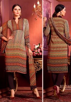 #Vaishali Digital Delight Print #Crepe #SalwarKameez Suit 1004 #Brown