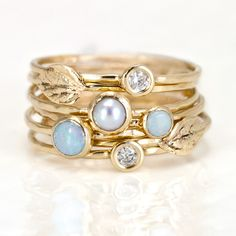 Leaf, Opal, Diamond, and Pearl Stacking Ring Set in 14k Gold