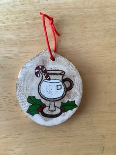 Egg Nog, Wood Circles, Wood Slices, Wood Burning, Festive, Christmas Ornaments, Holiday Decor, Projects, Painting
