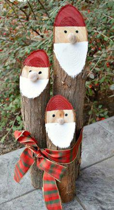 weihnachtsmann weihnachtsdeko basteln holz weihnachtsmann