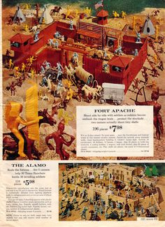 1962 Sears Christmas Catalog ~ Fort Apache & The Alamo Toy set from Marx Vintage Toys 1960s, 1960s Toys, Retro Toys, Vintage Stuff, Vintage Ads, 1980s, Christmas Catalogs, Christmas Books, Vintage Christmas