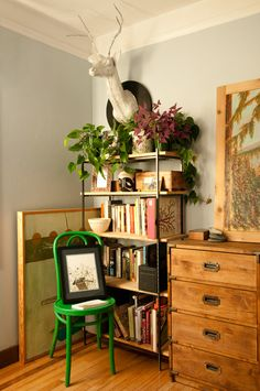 shelv, green chair, home workspace, chest of drawers