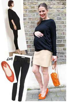 Navy and tangerine (no I'm not pregnant - just love this color combo!).  Via wearingittoday.blogspot.com