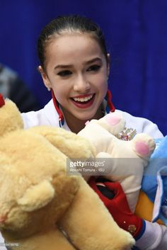 News Photo : Alina Zagitova of Russia smiles after the Junior...