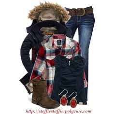 """Wintery Plaid"" by steffiestaffie on Polyvore"