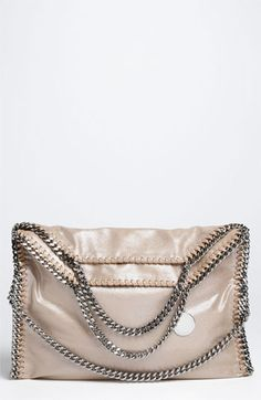 Stella McCartney 'Falabella' Metallic Foldover Tote available at #Nordstrom