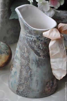 Купить Кувшин ,,Винтажный,, - тёмно-бирюзовый, Керамика, ваза, декупаж ваза, кувшин декупаж, кувшин