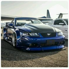 I genuinely am keen on this design for this car Sn95 Mustang, 2001 Ford Mustang, Ford Mustang Convertible, Ford Shelby, Blue Mustang, Custom Muscle Cars, Custom Cars, Widebody Mustang, New Edge Mustang