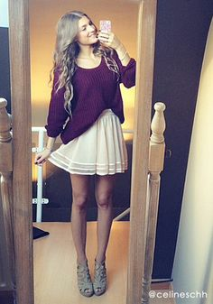 Maroon sweater, dress, boots