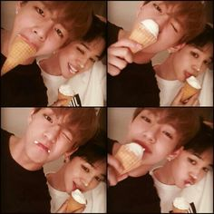 Taehyung & Jimin playing w/ ice cream