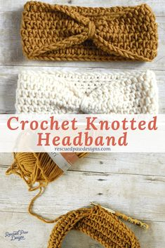 Knotted Headband Crochet Pattern - Multiple Sizes by Rescued Paw Designs Make this easy crochet knot headband today with this free crochet headband pattern. Uses only one stitch the HDC crochet stitch which is great for beginners Beginner Crochet Tutorial, Beginner Crochet Projects, Crochet Patterns For Beginners, Easy Crochet Patterns, Knitting Patterns, Hat Patterns, Free Crochet Headband Patterns, Crochet For Beginners Headband, Crochet Headband Tutorial