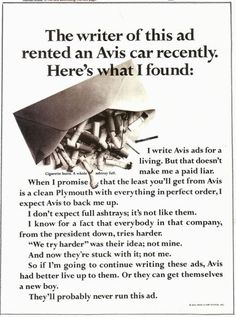 Avis ad from the Great copy. Print Advertising, Creative Advertising, Copy Ads, Ad Layout, Swipe File, Funny Ads, Great Ads, Layout Inspiration, Copywriting