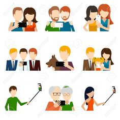 42369870-Selfie-icons-set-in-flat-design-style-Camera-and-phone-people-and-friend-memory-and-photograph-pose--Stock-Vector.jpg (1299×1300)