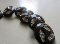 Vintage Buttons  Black glass gold and rhinestone by pillowtalkswf, $7.25