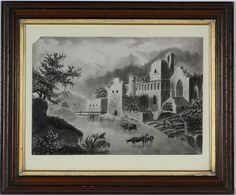 A 19th century antique marble dust Sandpaper Drawing ,with castles and…