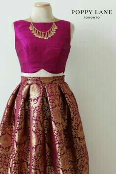 Real magnificence will come out of your dressing style with this dark pink brocade a-line lehenga. This lehenga is beautified with matching choli and dupatta. Add this timeless ethnic beauty to your wardrobe! Sari Dress, The Dress, Sari Blouse, Pink Dress, Lehenga Designs, Saree Blouse Designs, Indian Designer Outfits, Designer Dresses, Indian Bridal