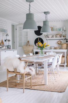 Keittiö arkistot - Page 2 of 133 - Uusi Kuu Dining Area, Dining Room, Dining Table, Kuu, House Rooms, Color Pop, Minimalism, Ceiling Lights, Rustic
