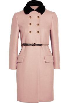 Shearling-collared double-breasted wool coat by Miu Miu