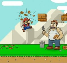 """Fun facts of Mario:- Mario was first seen in the video game Donkey Kong, but he was called """"Jumpman."""" He was also a carpenter then, not a plumber.  Mario was named after Mario Segale, the landlord of Nintendo of America's office, who barged in on a company meeting demanding an overdue rent.    How many of you did reach  its last level?"""