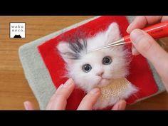 羊毛フェルト 猫のポイント植毛の仕方☆方法。100均の便利グッズもご紹介How to add long hair to needle felted cat face. - YouTube