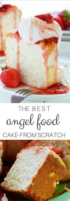 The Roasted Strawberries on this HOMEMADE ANGEL FOOD CAKE will blow your mind!