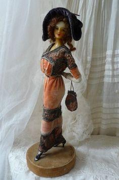 Antique boudoir doll victorian doll wax lafitte desirat fashion doll paris 1911