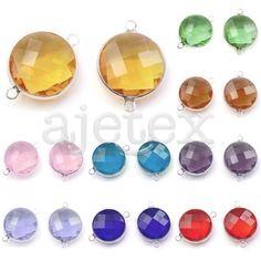 2pcs Crystal Rhinestone Round Connectors Pendant Necklace Jewelry 15x22x6mm…