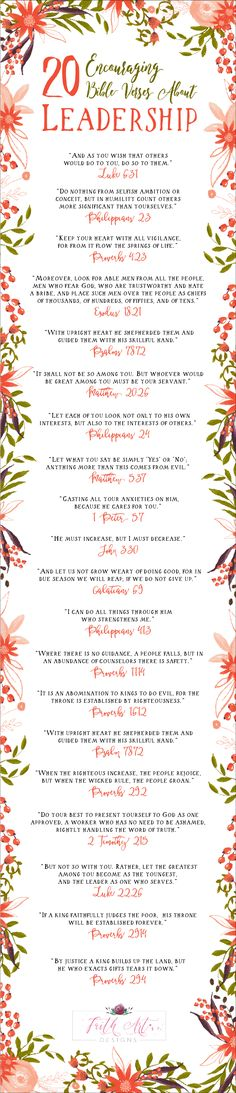 20 Encouraging Bible Verses About Leadership Encouraging Bible Verses, Bible Encouragement, Favorite Bible Verses, Bible Verses Quotes, Bible Scriptures, Christian Life, Christian Quotes, Christian Living, Leadership Quotes