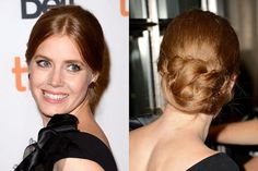 Amy Adams criss-crossing low bun updo hairstyle | allure.com
