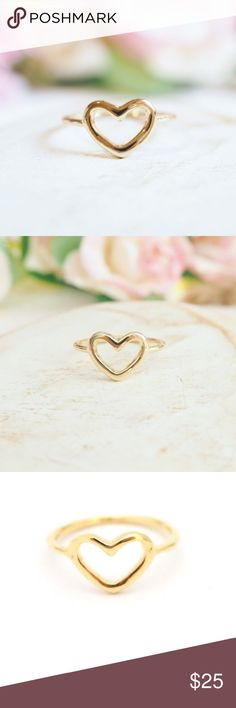✨HOST PUCK✨Gold Love Ring Sweet minimalist heart ring. High quality 18K gold plated, hand crafted with love in the U.S.A. Size 6.5  Twilight Gypsy Co. Jewelry Rings