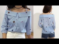 How to make off shoulder colar top with puff sleeve cutting and stitching very easy method - YouTube