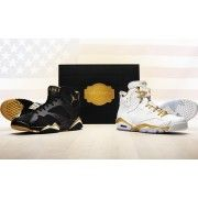 """This is the Air Jordan Gold Medal Pack released during after the 2012 Summer Olympics to commemorate the anniversary of the 1992 Barcelona Olympics where Michael Jordan and the """"Dream Team"""" took home the gold medal. Air Jordan Retro, Nike Air Jordan 6, Air Jordan Shoes, Jordan Swag, Nike Max, Real Jordans, Air Jordans, Newest Jordans, Michael Jordan"""