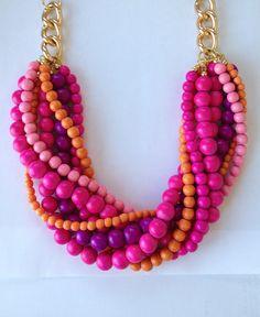 Statement Necklace pink orange purple beaded necklace statement jewelry gold chain HOT STUFF. $69.00, via Etsy.