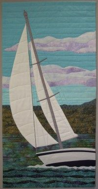 Nautical Chuppah - possibly have Michael make a quilt? Catching the Wind By Terry Aske. Exhibitions of the Fibre Art Network > On the Wind Ocean Quilt, Beach Quilt, Applique Wall Hanging, Quilted Wall Hangings, Landscape Art Quilts, Landscapes, Nautical Quilt, Fabric Postcards, Fabric Pictures