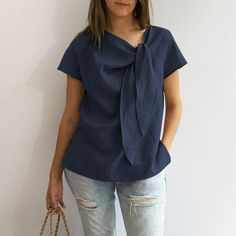 2019 Summer Women Plus Size Casual Blouses O Neck Short Sleeve Loose Shirts Solid Bow Vintage Tops Plus Size Vintage, Vintage Tops, Cute Blouses, Blouses For Women, Georgia, Loose Shirts, Loose Tops, Plus Size Casual, Sierra Leone
