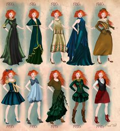 Merida in 20th century fashion by BasakTinli by BasakTinli.deviantart.com on @DeviantArt