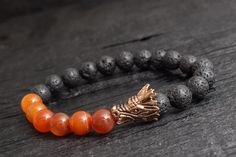 Black lava stone and orange agate beaded rose #gold #Dragon head stretchy bracelet custom made yoga bracelet, flame throwing dragon