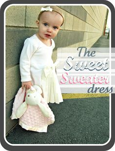 @Jillian Wood..something for you to make...and check out her bunny...Repurposed mommy sweater becomes sweater dress for sweet girl.