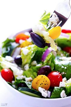 Greek Salad with Garlic-Lemon Vinaigrette Prep Time: 15 minutes Total Time: 15 minutes Yield: About 4 servings Ingredients Greek Salad Ingredients: 1 head Romaine lettuce, chopped 2 cups cherry or grape tomatoes, halved 1 cucumber, sliced into half coins 1/2 red onion, thinly sliced 2/3 cup Kalamata olives, pitted 2/3 cup crumbled feta cheese garlic lemon vinaigrette (see below) Garlic Lemon Vinaigrette Ingredients: 1/2 cup olive oil 3 Tbsp. freshly-squeezed lemon juice 3 Tbsp. red wine…