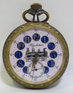bc8953507 Antique Goliath Pocket Watch Regulateur Locomotive Railroad  Porcelain/Enamel yqz. Reloj Antiguo De ...