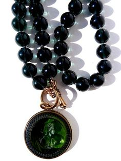Necklace Intaglio Deep Blue and Bottle Green from IMPERIO jp