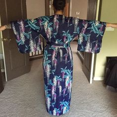 Japanese Kimono Robe Size is versatile. I'm a size 10 and that's me in the photo. This is a vintage item so the size is rubbed off of the tag. There's lots more room. It was actually big on me. I will provide measurements. Vintage Intimates & Sleepwear Robes
